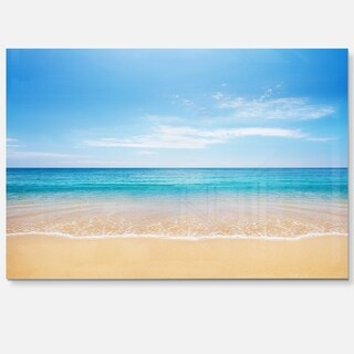 Wide Blue Sky Over Beach - Seashore Photo Glossy Metal Wall Art