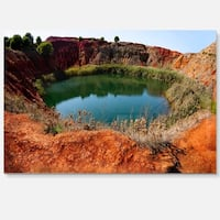 Bauxite Mine with Lake - Landscape Photo Glossy Metal Wall Art