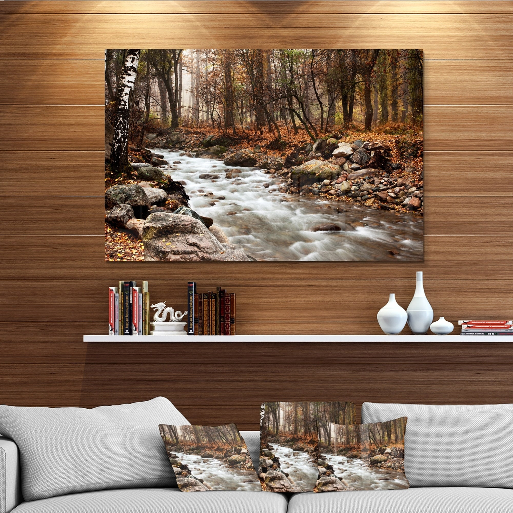 Stream In Autumn Forest Landscape Photography Glossy Metal Wall Art Overstock 12780325