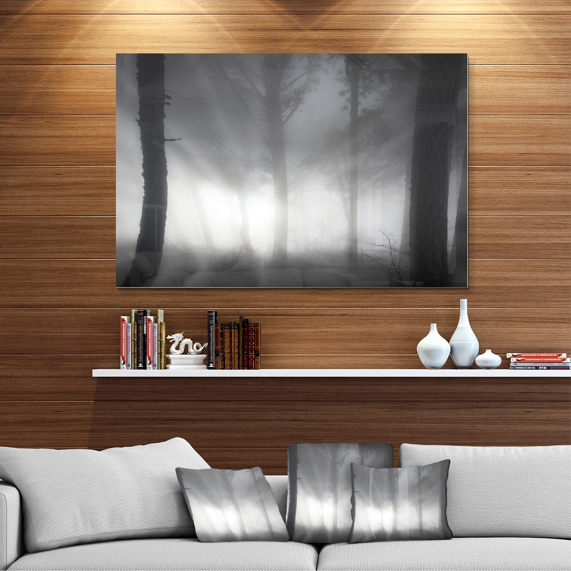 Forest In Heavy Autumn Mist Landscape Photo Glossy Metal Wall Art On Sale Overstock 12780335