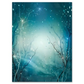 Blue Winter Fantasy Forest - Landscape Photo Glossy Metal Wall Art