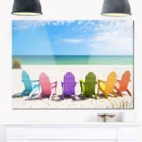 Adirondack Beach Chairs - Seashore Photo Glossy Metal Wall Art