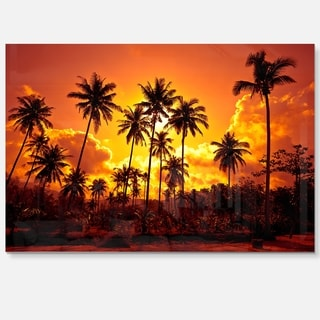 Coconut Palms Against Yellow Sky - Landscape Photo Glossy Metal Wall Art