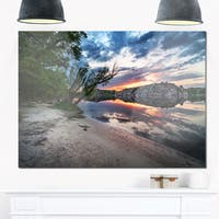 Sunset at River with Large Rock - Landscape Photo Glossy Metal Wall Art
