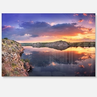 Large Summer Clouds Reflection - Landscape Photo Glossy Metal Wall Art