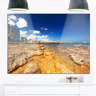 Paradise Beach in Ibiza Island - Seashore Photo Glossy Metal Wall Art