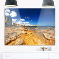 Paradise Beach in Ibiza Island - Seashore Photo Glossy Metal Wall Art