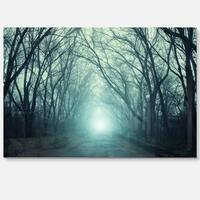 Fall Forest Path with Green Light - Landscape Photo Glossy Metal Wall Art