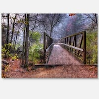 Beautiful Bridge Over Creek - Landscape Photo Glossy Metal Wall Art