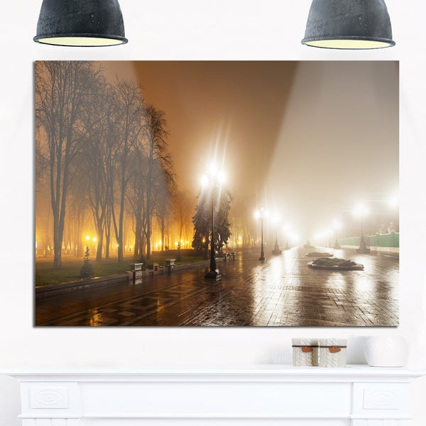 Avenue of City Park at Night - Cityscape Photography Glossy Metal Wall Art
