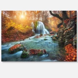 Fast Flowing Fall River in Forest - Landscape Photo Glossy Metal Wall Art