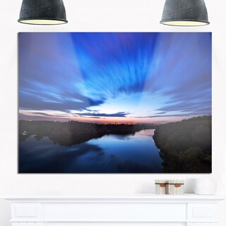 Blue Night Sky with River - Landscape Photo Glossy Metal Wall Art