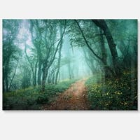 Light Green Mystical Fall Forest - Landscape Photo Glossy Metal Wall Art