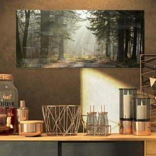 Dark Green Forest with Sun Rays - Landscape Photo Glossy Metal Wall Art