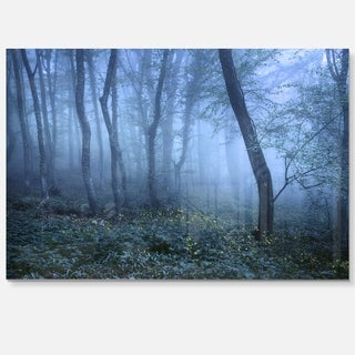 Trail Through Blue Fall Forest - Landscape Photo Glossy Metal Wall Art