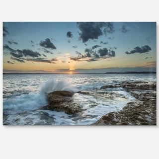 Bright Sydney Sunset Over Sea - Seashore Glossy Metal Wall Art