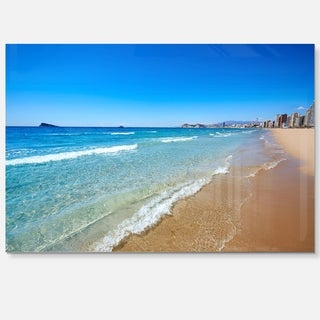 Benidorm Poniente Beach Waves - Seashore Glossy Metal Wall Art