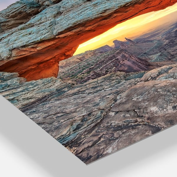 Sunrise At Mesa Arch In Canyon Lands Landscape Glossy Metal Wall Art Overstock 12780761