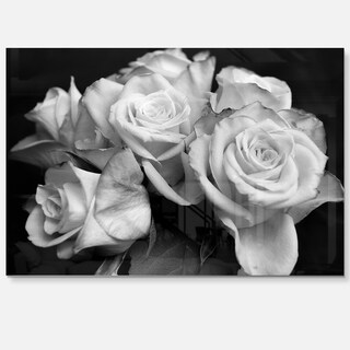 Bunch of Roses Black and White - Floral Glossy Metal Wall Art