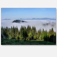 Green Trees and Fog Over Mountains - Landscape Glossy Metal Wall Art
