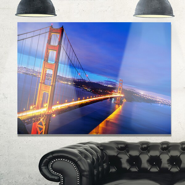 Golden Gate In Blue Background Sea Bridge Glossy Metal Wall Art
