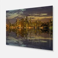 San Francisco at Sunset Panorama - Cityscape Glossy Metal Wall Art