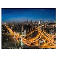 Highway and Main Traffic Bangkok - Cityscape Glossy Metal Wall Art