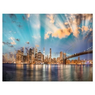 Dramatic Sky Over Manhattan City - Cityscape Glossy Metal Wall Art