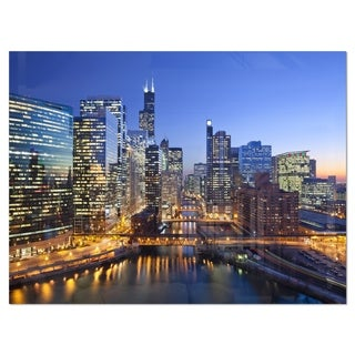 Chicago River with Bridges at Sunset - Cityscape Glossy Metal Wall Art