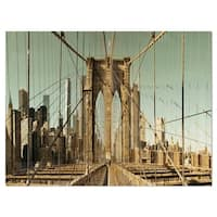 Manhattan Bridge in New York Brown - Cityscape Glossy Metal Wall Art