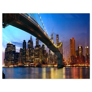 Link to Manhattan City with Bridge under Blue Sky - Cityscape Glossy Metal Wall Art Similar Items in Metal Art