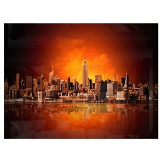 New York City Panorama in Red Light - Cityscape Glossy Metal Wall Art