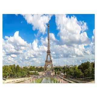 Link to Panoramic Paris Eiffel Tower under Clouds - Cityscape Glossy Metal Wall Art Similar Items in Metal Art