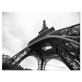 Paris Eiffel Tower in Black and White Side View - Cityscape Glossy Metal Wall Art