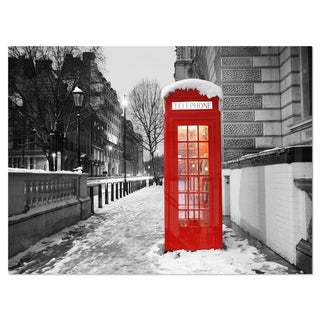 Red London Telephone Booth - Cityscape Glossy Metal Wall Art