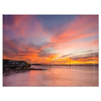 Calm Sydney Beach with Yellow Sky - Large Seashore Glossy Metal Wall Art