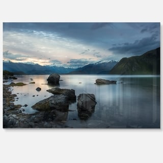 Large Rocks and Distant Cloudy Mountains - Landscape Glossy Metal Wall Art