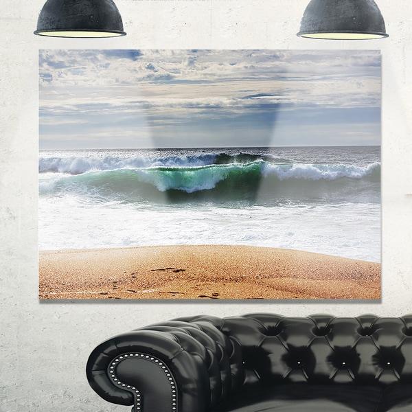 Large Blue Waves and Blue Sky - Large Seashore Glossy Metal Wall Art