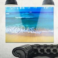 Floating Blue Waves Beach - Large Seashore Glossy Metal Wall Art