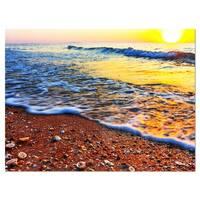 Sunset Reflecting in Blue Waves - Large Seashore Glossy Metal Wall Art