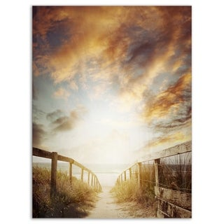 Walkway Leading to Beach Scene - Sea Bridge Glossy Metal Wall Art