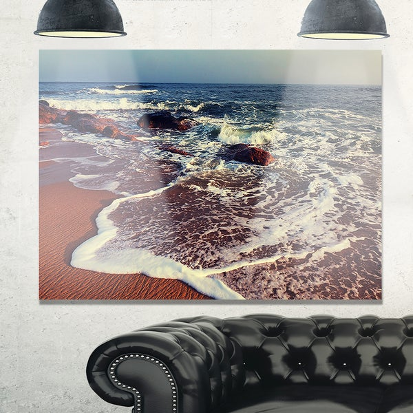 Foaming Waves Kissing Wide Beach - Large Seashore Glossy Metal Wall Art