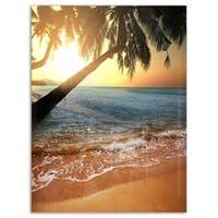 Beautiful Sunset on Tropical Beach - Large Seashore Glossy Metal Wall Art