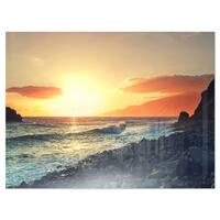 Madeira Coast with Blue Waters - Large Seashore Glossy Metal Wall Art