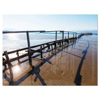 Wooden Boardwalk on Beach - Sea Bridge Glossy Metal Wall Art
