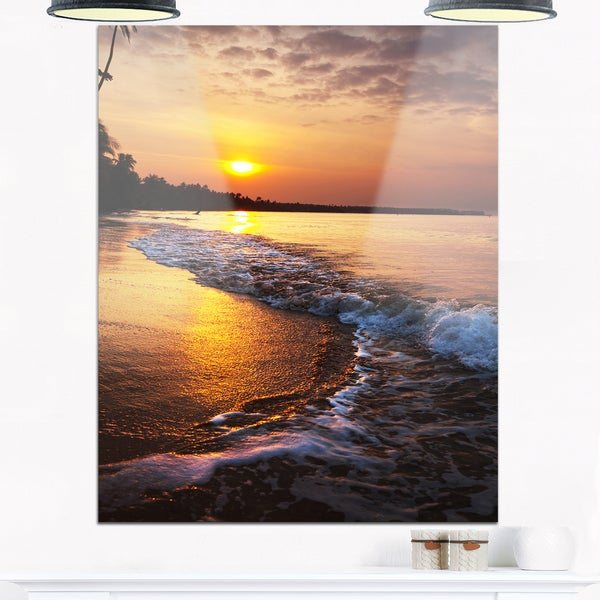White Foaming Waves at Sunset - Modern Beach Glossy Metal Wall Art