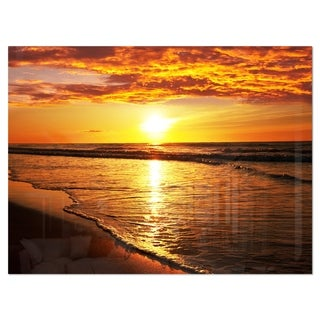 Bright Yellow Sunset over Waves - Modern Beach Glossy Metal Wall Art