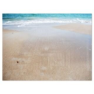 Crystal Clear Sea Waves on Beach - Modern Beach Glossy Metal Wall Art