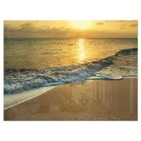 White Waves under Yellow Sunset - Modern Beach Glossy Metal Wall Art