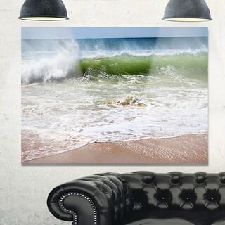 Roaring Sea Waves and Blue Sky - Seashore Glossy Metal Wall Art